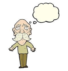 Cartoon sad old man with thought bubble vector