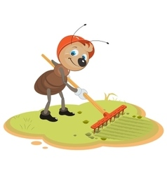 Ant gardener with rake vector