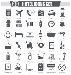Hotel black icon set dark grey classic vector