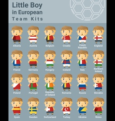 Set of kids in european sport team kits vector