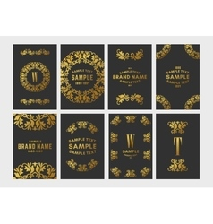 Set of floral logo frame and monogram golden on vector
