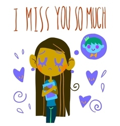 Romantic cute i miss you so much postcard vector