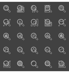 Analytics magnifying glass icons vector image vector image