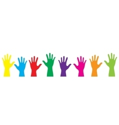 Banner color hands rise up vector