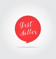 best seller label handdrawn lettering red color vector image vector image