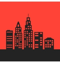 Black city landscape on red background vector
