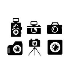 Black flat photo camera icon vector image vector image