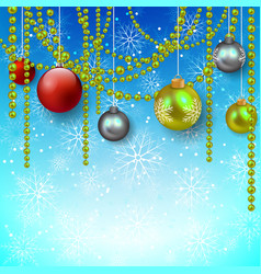 blue background with snowflakes and christmas tree vector image vector image