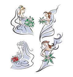 Bride holding bouquet of flowers vector