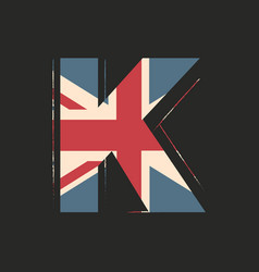 Capital 3d letter k with uk flag texture isolated vector