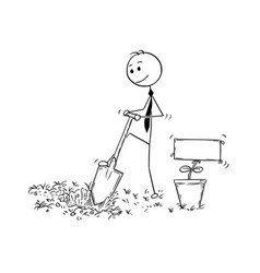 Cartoon of businessman digging a hole for plant vector