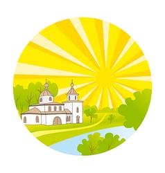 Country church with steeple happy kids vector