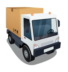 Delivery truck with a big box vector