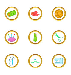 Dressmaking icons set cartoon style vector