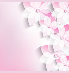 Floral background greeting card 3d flowers sakura vector image