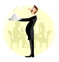 funny waiter holding silver serving dome vector image
