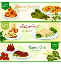 Italian cuisine dinner with fruit dessert banner vector