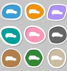 Jeep icon symbols multicolored paper stickers vector