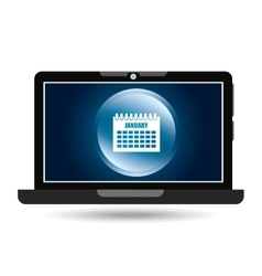 laptop blue display calendar social media vector image