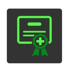 Medical certification flat button vector
