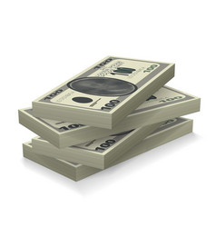 money stack with shadows vector image vector image