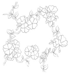 Ornate black and white flowers on a white vector