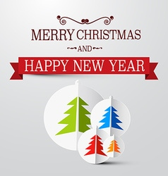 Retro christmas card with trees on paper vector
