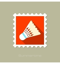 Shuttlecock for badminton sport flat stamp vector image vector image