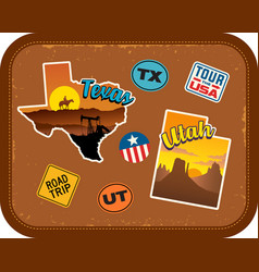 texas utah travel stickers and retro text vector image vector image