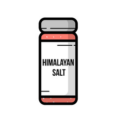 Transparent glass jar of himalayan salt vector