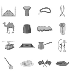 Turkey icons set gray monochrome style vector image