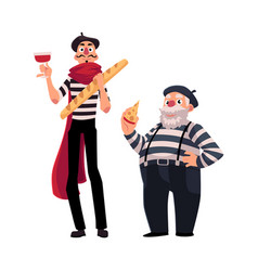 Two french mimes young and old with symbols of vector