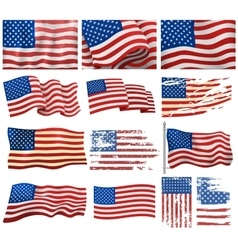 USA flags set vector image vector image