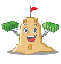 With money sandcastle character cartoon style vector