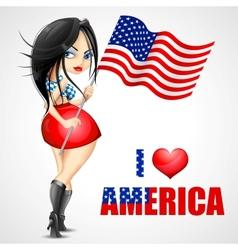 Woman waving American Flag vector image vector image