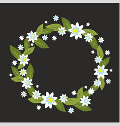 wreath with white flowers vector image vector image