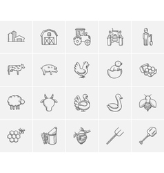 Agriculture sketch icon set vector