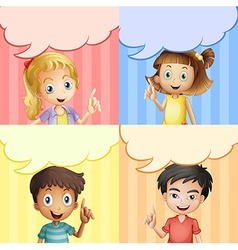 Children with speech bubble templates vector