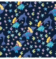 Mermaids and fish pattern vector