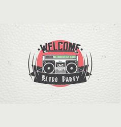 Color sticker retro party disco music event at vector