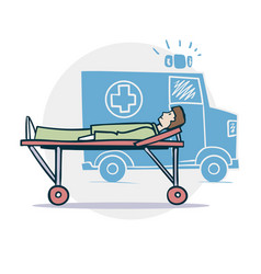 ambulance and patient vector image