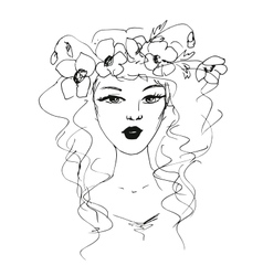 sketch of a woman with flowers in her hair vector image