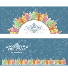 Christmas cards with snowy old town vector