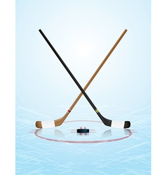 Ice hockey sticks puck on ice rink vector