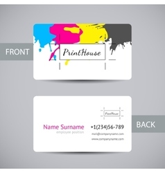 Business card for print house with cmyk ink vector