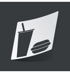 Monochrome fast food sticker vector