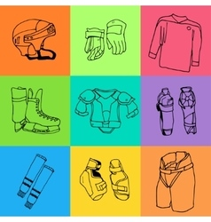 Seamless pattern ice-hockey equipment sport icon vector