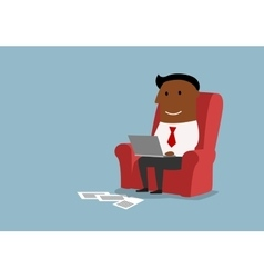 Businessman sitting and working with laptop vector