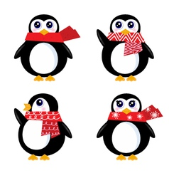 Christmas retro penguin vector