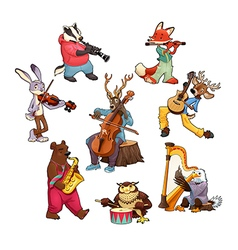 Musician cartoon animals vector